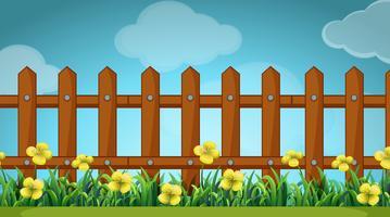 Scène avec clôture en bois et fleurs vecteur