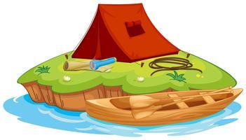 objets vaious pour le camping et un canoë vecteur