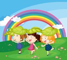 enfants avec arc-en-ciel