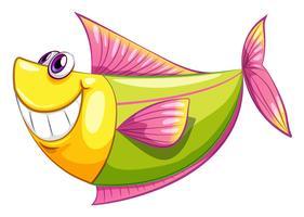 Un poisson aquatique coloré et souriant vecteur