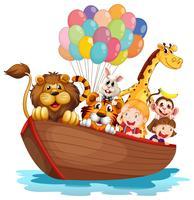 Un bateau plein d'animaux vecteur