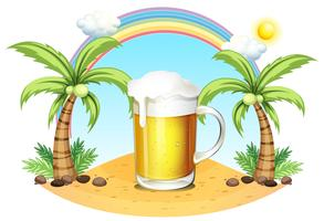 Un verre de bière à la plage vecteur