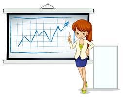 Une femme d'affaires avec un tableau d'affichage et un panneau vide