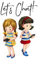 Deux filles discutent au téléphone vecteur