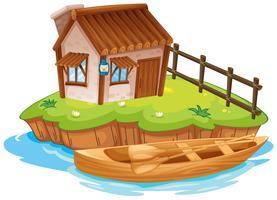 Une maison sur une île vecteur