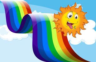 Un arc en ciel à côté du soleil heureux vecteur