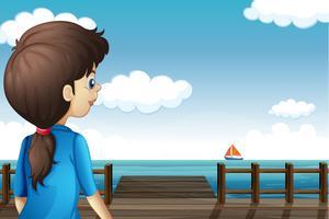 Une fille regarde le bateau vecteur