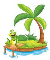 Une île avec une grenouille au-dessus du pont de bois