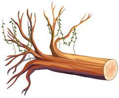 Bûche de bois avec vigne vecteur