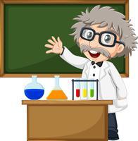 Un scientifique devant le tableau vide vecteur