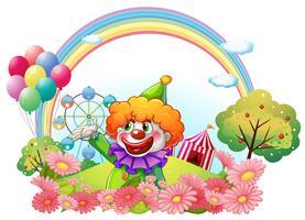 Un clown dans un parc d'attractions