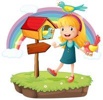 Une fille à côté d'une boîte aux lettres en bois avec trois oiseaux vecteur