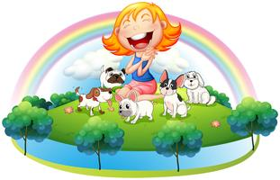 Une île avec une fille et ses cinq animaux domestiques vecteur
