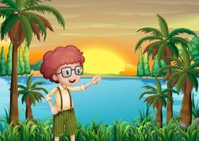 Un jeune garçon montrant les arbres vecteur