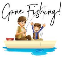 Père et fils pêchant avec phrase parti pêcher vecteur