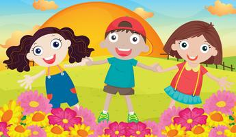 les enfants et les paysages vecteur