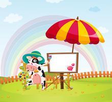 Vache et parapluie