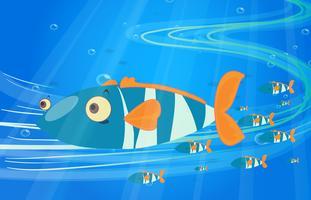 École de poisson dans la mer