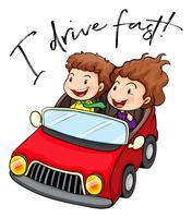 Les gens conduisant la voiture avec la phrase je conduis vite vecteur
