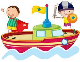 enfants jouant sur le bateau