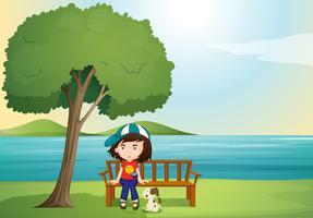 fille et chien vecteur