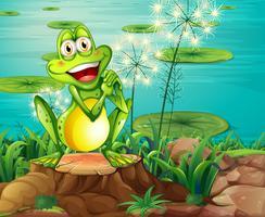 Une grenouille au-dessus de la souche près de l'étang vecteur