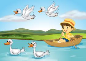 Canards et un enfant vecteur