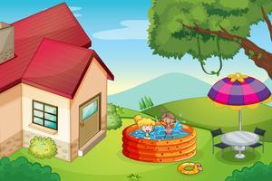 une maison et des enfants vecteur