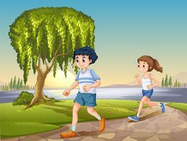 Couple, jogging vecteur