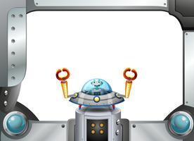 Une bordure de cadre en métal avec un robot dans une soucoupe vecteur