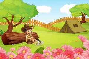 Un garçon et une tente vecteur