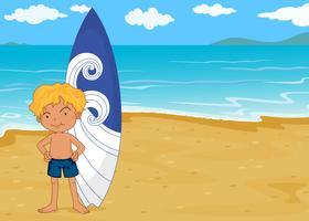 un garçon avec tapis de surf vecteur
