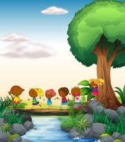 Enfants et rivière vecteur