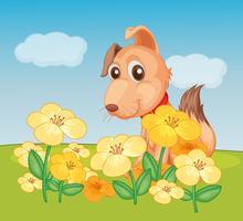 Un chien et une plante à fleurs