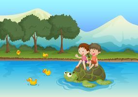 enfants sur tortue vecteur