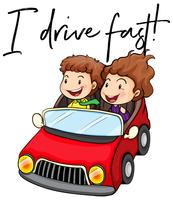 Phrase je roule vite avec un couple conduisant une voiture rouge vecteur
