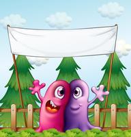 Deux monstres aimants sous la bannière vide vecteur