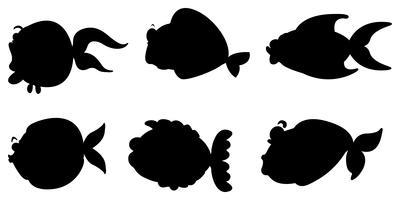 Images noires des différentes créatures marines vecteur