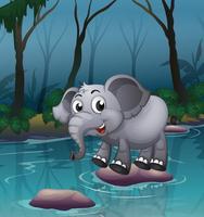 Un éléphant traversant la rivière au moyen de grosses pierres