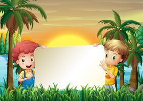 Deux enfants au bord de la rivière tenant un affichage vide vecteur