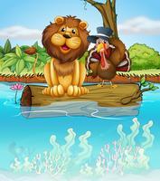 Un lion et une dinde au-dessus d'un tronc flottant