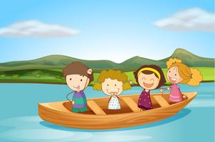 Enfants en bateau vecteur