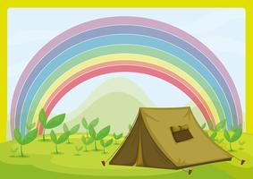 Une tente et un arc en ciel vecteur
