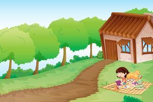 filles et maison vecteur