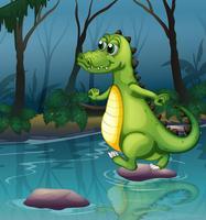 Un crocodile traversant l'étang