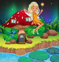 Une fée au-dessus de la maison aux champignons rouges vecteur