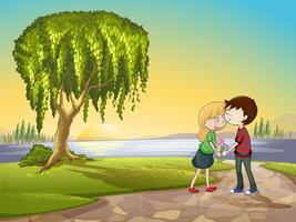 un garçon et une fille dans la nature