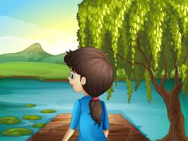 Une femme regarde la rivière vecteur