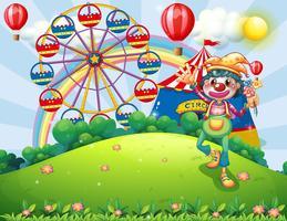 Un clown au sommet d'une colline avec un carnaval vecteur