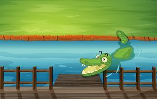 Un crocodile et un banc vecteur